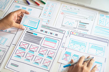 Website Designer Creative Planning Application Developer Development Draft Sketch Drawing Template Layout Prototype Framework Wireframe Design Studio . User Experience Concept .