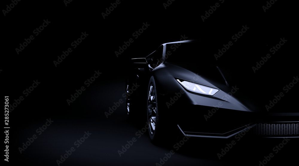 Fototapety, obrazy: Black sport car on dark background 3d render