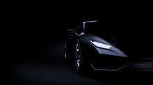 Black Sport Car On Dark Backgr...