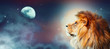 canvas print picture - African lion and moon night in Africa. African savannah moonlight landscape, king of animals. Proud dreaming fantasy lion in savanna looking forward on stars. Majestic dramatic starry sky wide banner.