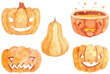 Collection Of Halloween Pumpkins In Watercolor