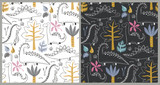 Fototapeta Dinusie - Vector seamless patterns with hand drawn dinosaurs and tropical leaves and flowers. Two different colors.