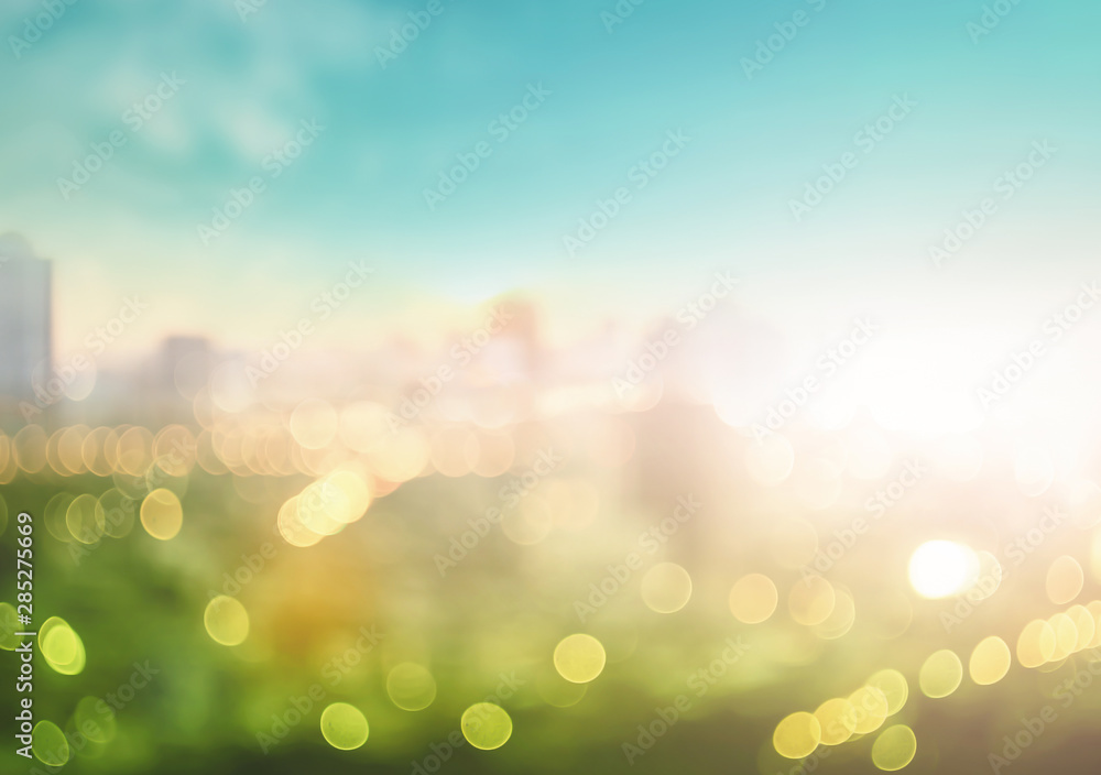 Fototapety, obrazy: Blurred beautiful city view at twilight scene background