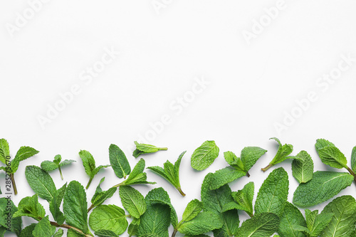Obraz Fresh green mint leaves on white background, top view - fototapety do salonu