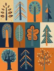 Fototapeta Abstrakcja Vector seamless pattern with hand drawn forest trees in rectangular frames.