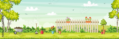 Fotografía Spring landscape with garden tools, vector illustration