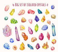 Set Of Many Different Crystals In Sketch Doodle Style. Vector Hand-drawn Icons. Decoration Game Elements