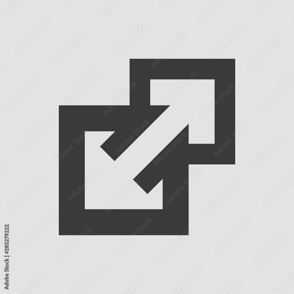 Fototapety, obrazy: External Link icon isolated of flat style. Vector illustration.