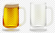 Foamy Beer Glass Realistic Vec...