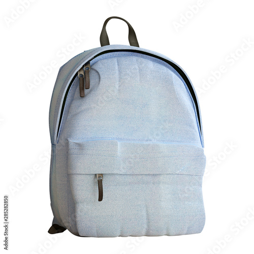 Obraz Realistic baby blue backpack isolated on white, close up, mock-up, 3d rendering - fototapety do salonu