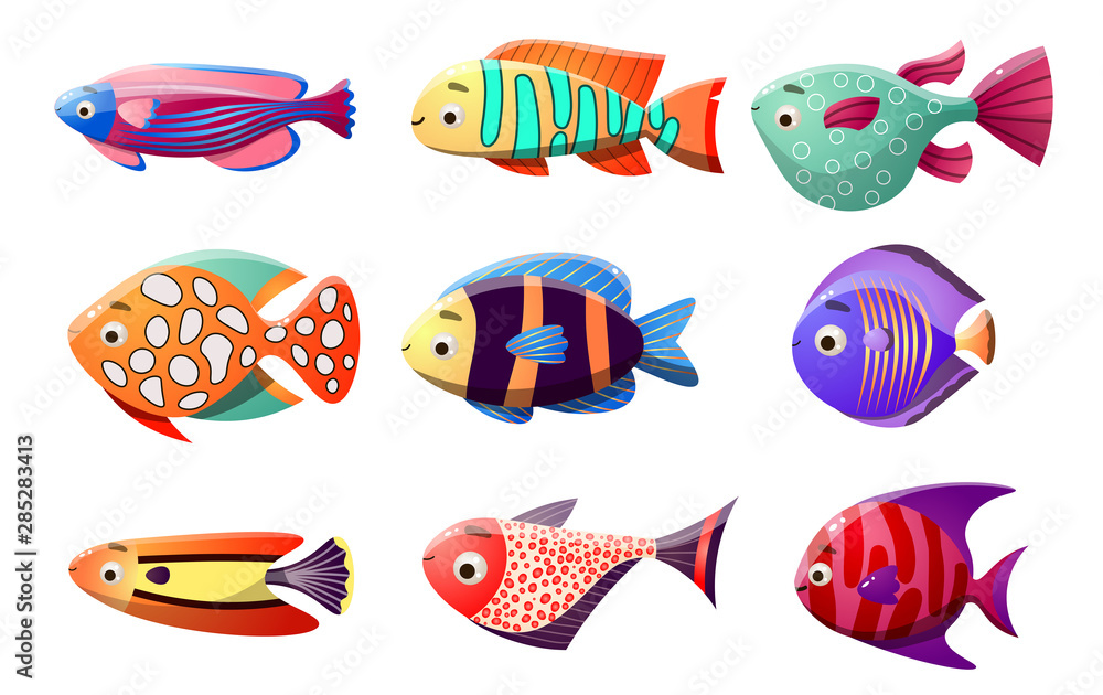 Coral reef fish set. Raster illustration in the flat cartoon style of tropical fish.