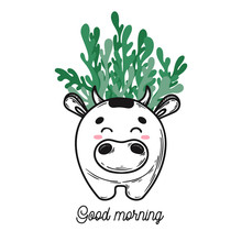 House Plant In A Pot With A Muzzle Of The Animal. Cute Cow Face On The Pot. Vector