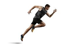 Man Running. Isolated On White