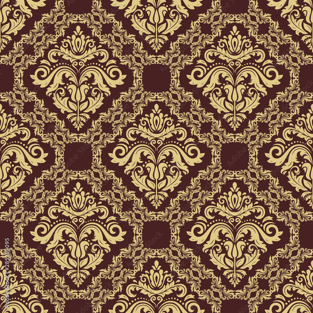 Orient classic pattern. Seamless abstract background with vintage elements. Orient brown and golden background. Ornament for wallpaper and packaging
