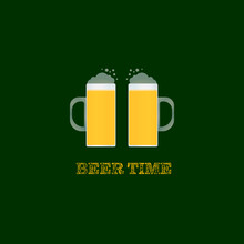 Beer Time Text With Two Full Pints Of Beer