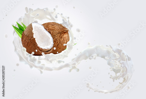 Fresh coconut milk wave 3D splash with coconuts isolated. Glossy shining vegetarian milk, smoothie, non dairy natural coconut milk, cream, cosmetic soap splash. Liquid splash label ad design element