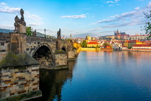 Prague Panorama With Charles Bridge And Prague Castle At Background, Czech Republic
