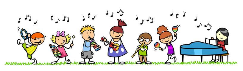 Kinder mit Musikinstrumente...