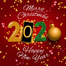 Merry Christmas And Happy New Year 2020 Greeting Card, Vector Illustration.