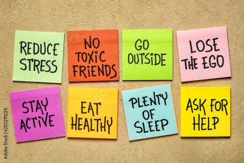Stampa su Tela healthy lifestyle habits - reminder notes