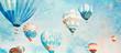 Leinwanddruck Bild - Hot Air Balloons. Watercolor background
