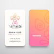 Yoga Namaste Concept Logo and Business Card Template. Meditation or Yoga Symbol. Meditating Person Silhouette with Limitless Symbol and Typography. Stationary Realistic Mock Up.