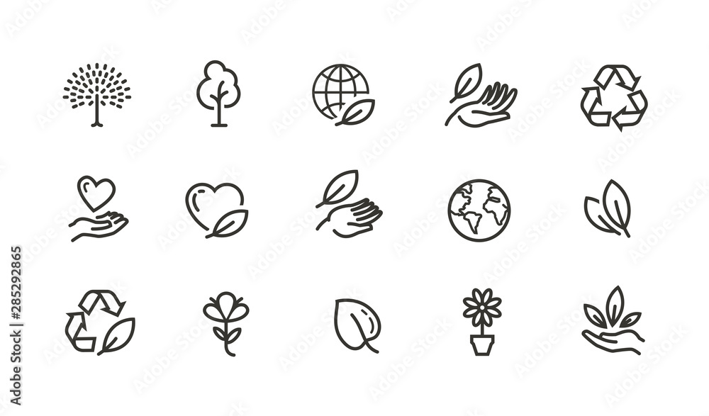 Fototapeta Ecology, environment line icons set. Collection vector black outline logo for mobile apps web or site design