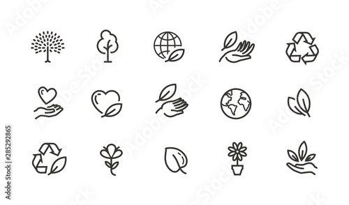 Cuadros en Lienzo Ecology, environment line icons set