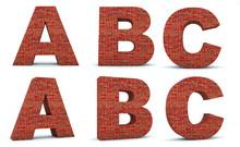 Font Brick, Alphabet Build, Letters A, B, C, 3d Render, Path Save