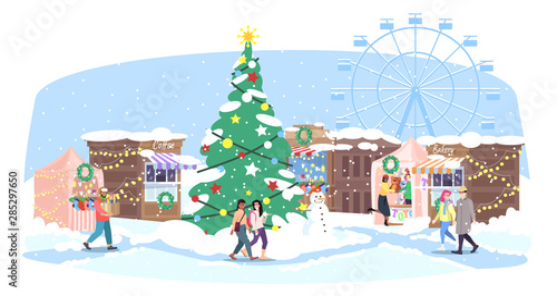 Christmas Fair Flat Vector Illustration Xmas Street Market Funfair Cartoon People Walk Winter Fairground With Holiday Market Stalls Christmas Tree And Ferris Wheel New Year Greeting Card Design Buy This Stock