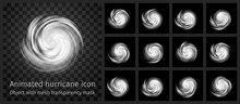 Animated Hurricane Icon With T...