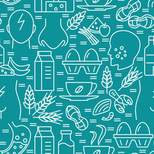 Food Intolerance Seamless Pattern In Line Style