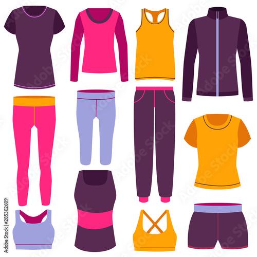 Obraz Cartoon Color Clothes Fitness Icon Set. Vector - fototapety do salonu