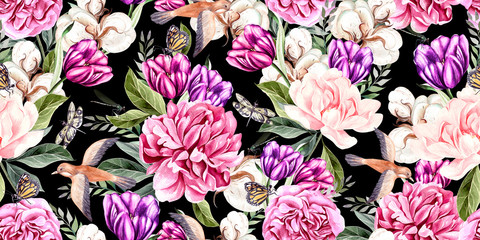 Fototapeta Peonie Watercolor seamless spring pattern with peony, tulip, cotton and birds.