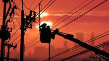 Silhouette Two Electricians With Disconnect Stick Tool On Crane Truck Are Working To Install Electrical Transmission On Power Pole With Blurred Colorful Sunrise Sky Background, Illustration Mode