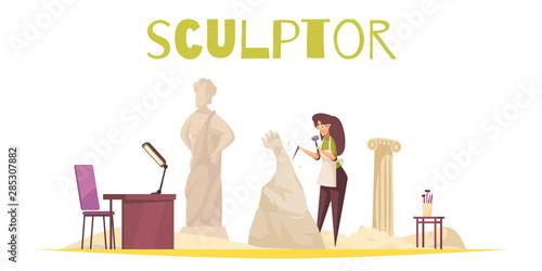 Stampa su Tela Sculptor Concept Illustration