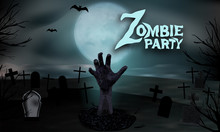 Zombie Hand Rising From The Grave. Halloween Party Background. Graveyard With Tombstones And Moon In Spooky Night. Vector