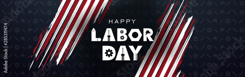 Stampa su Tela Labor day September 2 background,united states flag, greeting card with brush st