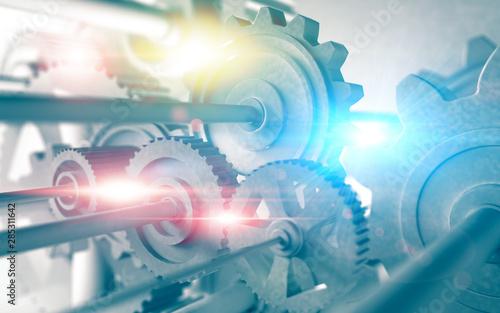Obraz na plátně Fondo de mecanismo y engranajes