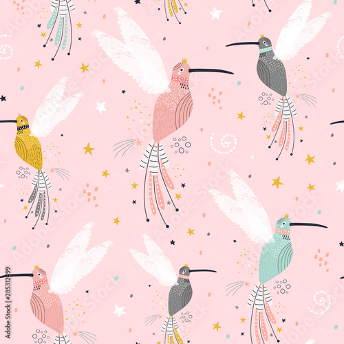 obraz lub plakat Seamless childish pattern with fairy collibi, stars. Creative scandinavian style kids texture for fabric, wrapping, textile, wallpaper, apparel. Vector illustration