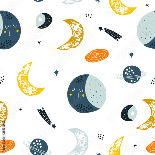 Childish seamless pattern with hand drawn space elements space, moon, star, planet, galaxy. Trendy kids vector background.
