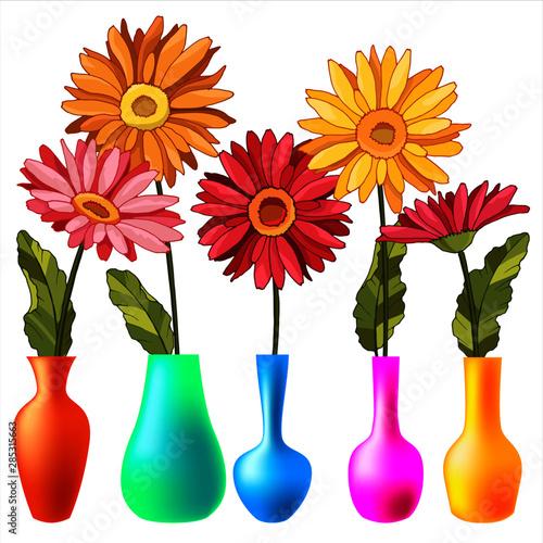 Fototapety, obrazy: Colorful Flowers in Vases Vector Illustration