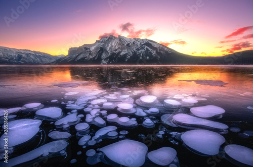 Wall Murals Light pink Winter Sunrise@ Minnewanka Lake, Banff National Park, Alberta, Canada