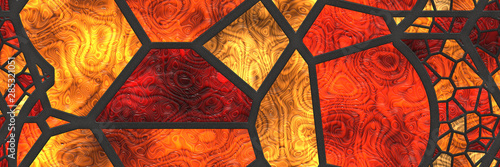 Fotomural 3d illustration. Stained glass- abstract mosaic architecture