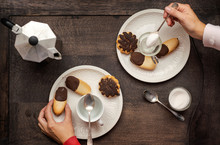 Breakfast With Coffee And Biscuits