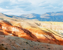 Unusual Red Colored Rocks Of The Mountains, Beautiful Landscape At The Top