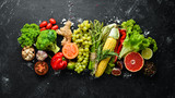 Fresh vegetables and fruits. Healthy food. Top view. Free copy space. - 285327672