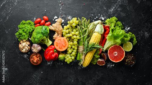 Deurstickers Keuken Fresh vegetables and fruits. Healthy food. Top view. Free copy space.