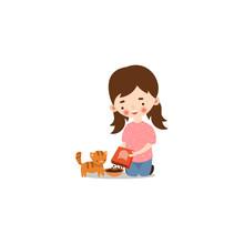 Cute Little Girl Feeding A Cat. Raster Illustration In Flat Cartoon Style