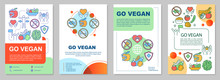 Go Vegan Brochure Template Layout. Vegetarian Lifestyle Flyer, Booklet, Leaflet Print Design With Linear Illustrations. Vector Page Layouts For Magazines, Annual Reports, Advertising Posters